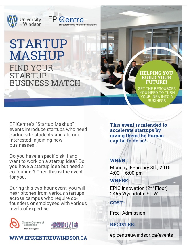 EPICentre Startup Mashup: February 8th, 2016, 4:00PM - 6:00PM