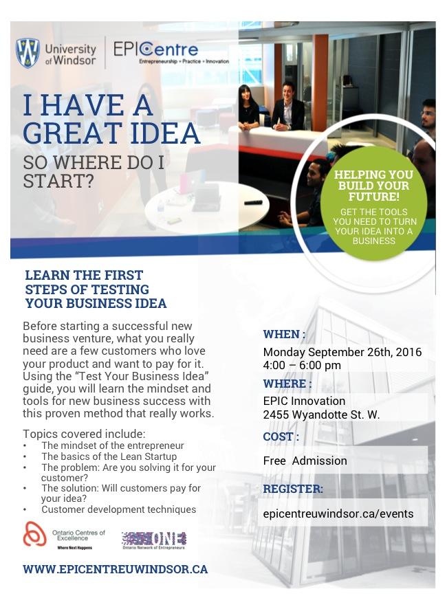 Test Your Business Idea Sept 26 2016