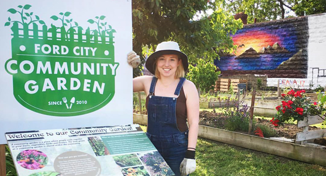 Bridget at the Community Garden