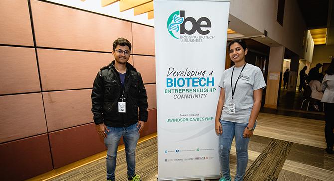 Students in front of Biotech Entrepreneurship banner