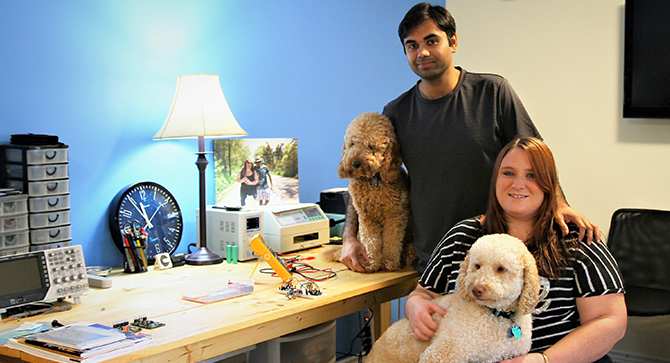Charrie and Kaushik Ray with their dogs